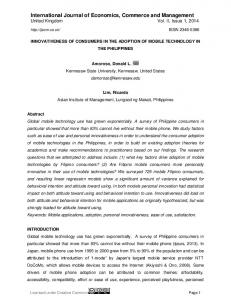 Innovativeness of consumers in the adoption of mobile technology in ...