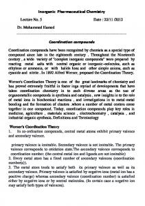Inorganic Pharmaceutical Chemistry Coordination compounds