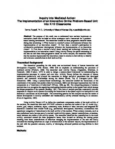 Inquiry into Mediated Action: The Implementation of an ... - Web Pages
