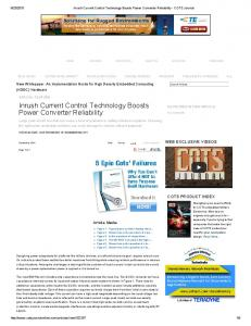 Inrush Current Control Technology Boosts Power Converter Reliability
