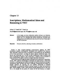 Inscriptions, Mathematical Ideas and Reasoning in VMT - Gerry Stahl