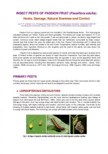 INSECT PESTS OF PASSION FRUIT (Passiflora edulis): Hosts ...