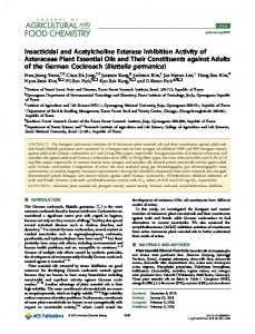 Insecticidal and Acetylcholine Esterase Inhibition Activity of ...