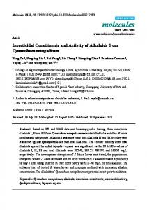 Insecticidal Constituents and Activity of Alkaloids from ... - MDPI