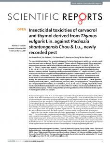 Insecticidal toxicities of carvacrol and thymol derived from ... - Nature