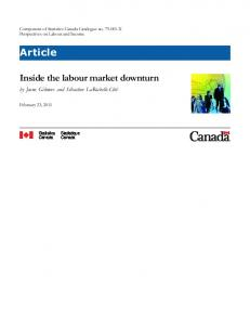 Inside the labour market downturn Article - Statistics Canada