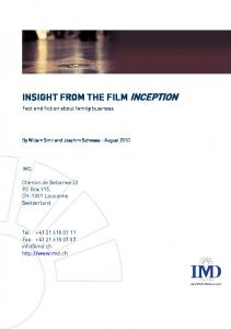 INSIGHT FROM THE FILM INCEPTION - IMD