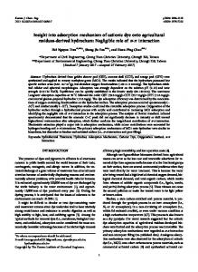 Insight into adsorption mechanism of cationic dye ...