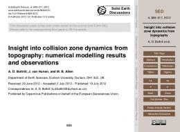 Insight into collision zone dynamics from topography