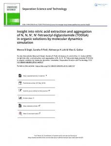 Insight into nitric acid extraction and aggregation of N ...