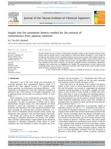 Insight into the adsorption kinetics models for the ...