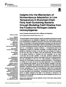 Insights into the Mechanism of Homeoviscous Adaptation to ... - Frontiers