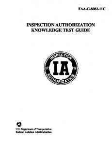 INSPECTION AUTHORIZATION KNOWLEDGE TEST GUIDE