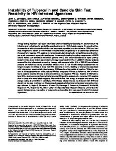 Instability of Tuberculin and Candida Skin Test ... - ATS Journals