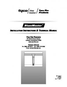 INSTALLATION INSTRUCTIONS & TECHNICAL MANUAL