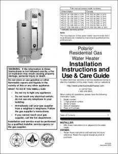 Installation Instructions and Use & Care Guide