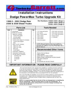 Installation Instructions Dodge PowerMax Turbo Upgrade Kit
