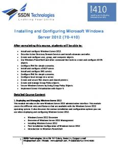 Installing and Configuring Microsoft Windows Server 2012 (70-410)