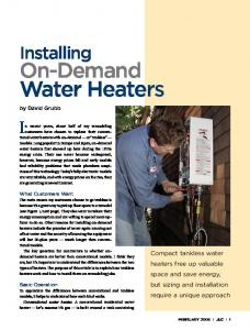 Installing On-Demand Water Heaters