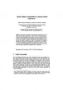 Instant Online Communities as a means to foster ... - Semantic Scholar