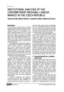 institutional analysis of the contemporary regional labour market in the ...