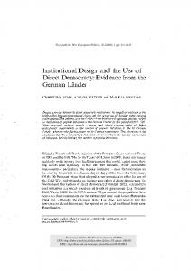 Institutional Design and the Use of Direct ... - Semantic Scholar