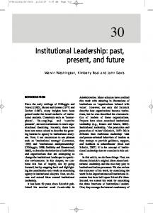 Institutional Leadership: past, present, and future - CiteSeerX