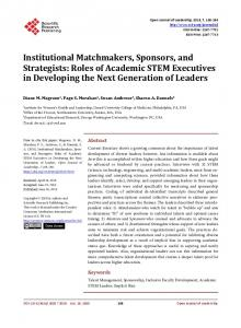 Institutional Matchmakers, Sponsors, and Strategists: Roles of ...