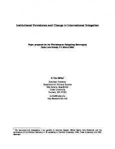Institutional Persistence and Change in International ... - CiteSeerX