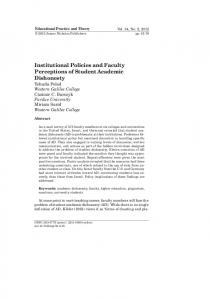 Institutional Policies and Faculty Perceptions of ...