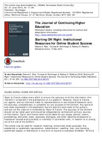 Institutional Resources for Online Student Success