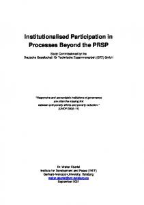 Institutionalised Participation in Processes ... - World Bank Group