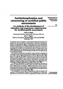 Institutionalization and structuring of certified public ... - IngentaConnect