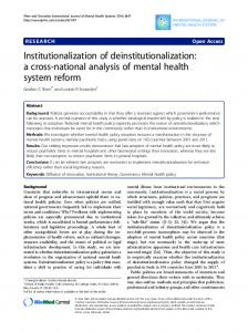 Institutionalization of deinstitutionalization - CiteSeerX