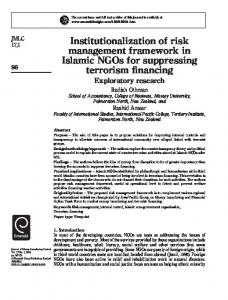 Institutionalization of risk management framework in ... - IngentaConnect