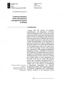 Institutionalization of the development management system ... - Sciendo