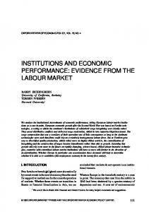institutions and economic performance: evidence from the labour market