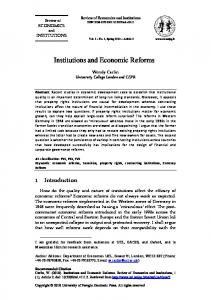 Institutions and Economic Reforms - Review of Economics and