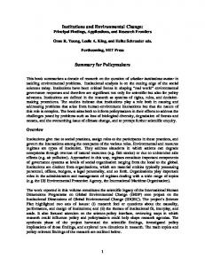 Institutions and Environmental Change: Summary ... - Semantic Scholar