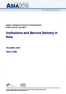 Institutions and Service Delivery in Asia - CiteSeerX
