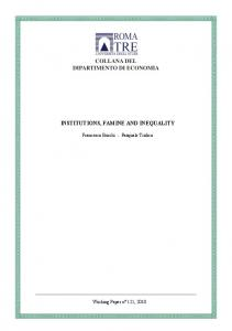 INSTITUTIONS, FAMINE AND INEQUALITY