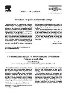 Institutions for global environmental change