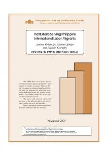 Institutions Serving Philippine International Labor Migrants - CiteSeerX
