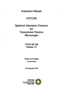 Instruction Manual CETCOR Spherical Aberration Corrector for ...