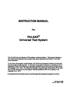 INSTRUCTION MANUAL PULSAR Universal Test System