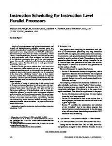 Instruction scheduling for instruction level parallel processors