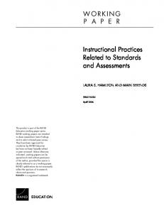 Instructional Practices Related to Standards and ... - CiteSeerX