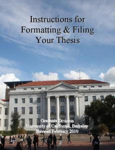 Instructions for Formatting and Filing Your Thesis