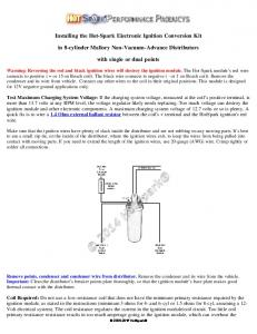 Instructions - Installing the Hot-Spark Ignition in Mallory Centrifugal ...