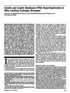 Insulin and Leptin Resistance With Hyperleptinemia in Mice ... - Diabetes